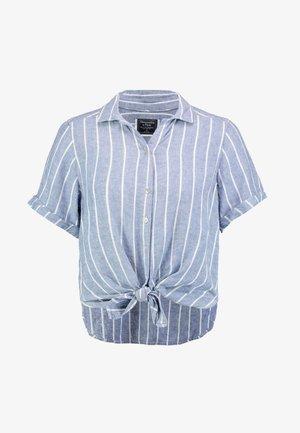 TIE FRONT - Bluse - blue