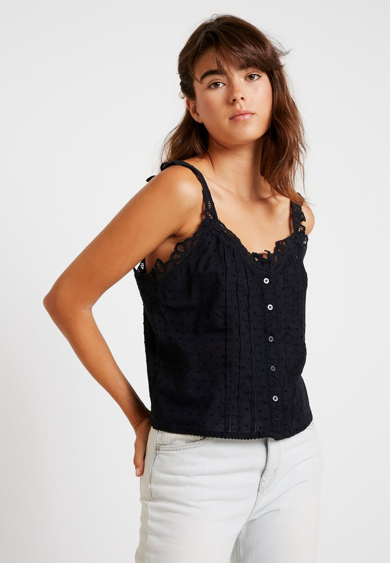 Abercrombie & Fitch - CUTWORK TANKTOP - Blouse - black