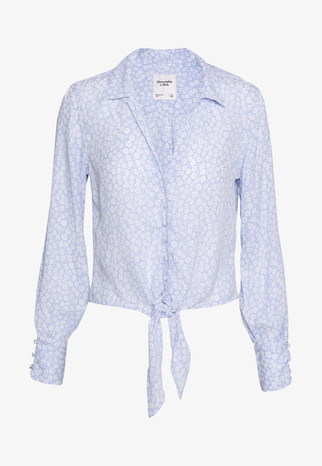 PRINTED - Button-down blouse - blue/white