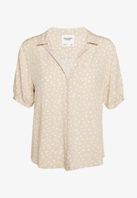 Abercrombie & Fitch - PUFF SLEEVE - Button-down blouse - brown - 0