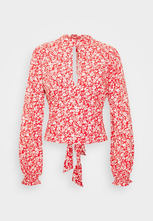TIE BACK BLOUSE  - Blouse - red grounded floral