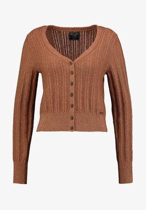 POINTELLE V-NECK  - Cardigan - light brown