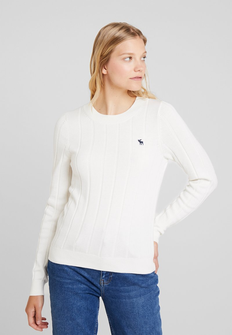 Abercrombie & Fitch - ICON CREW NECK - Pullover - cream