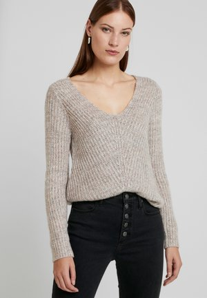 LONG FUZZY - Sweter - pink/grey