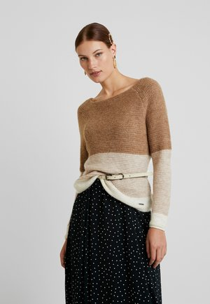 BOATNECK DOLMAN - Svetr - brown colorblock
