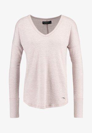 Strikkegenser - shadow grey/light pink
