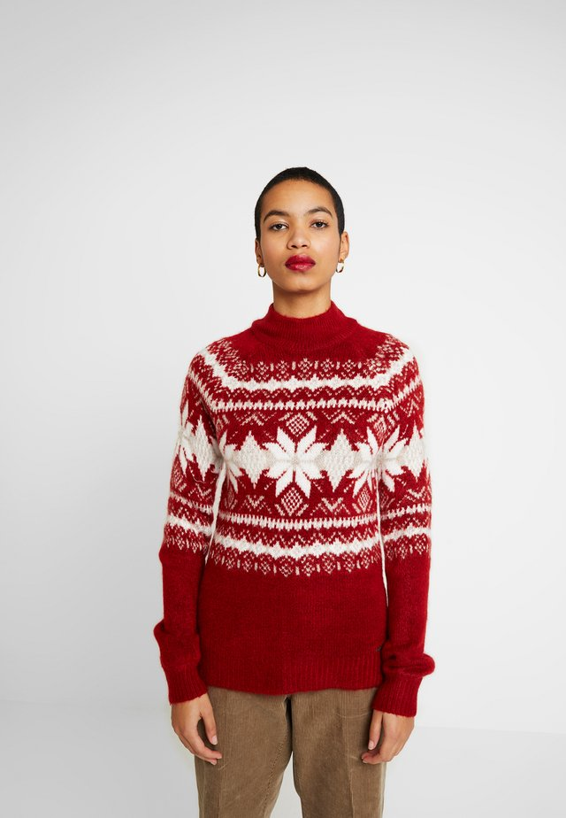 MOCKNECK PUFF SLEEVE FAIRISLE - Jumper - red