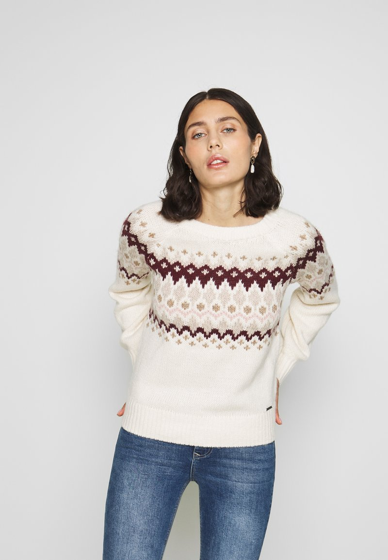 Abercrombie & Fitch - CABLE MOCKNECK - Jumper - cream pattern