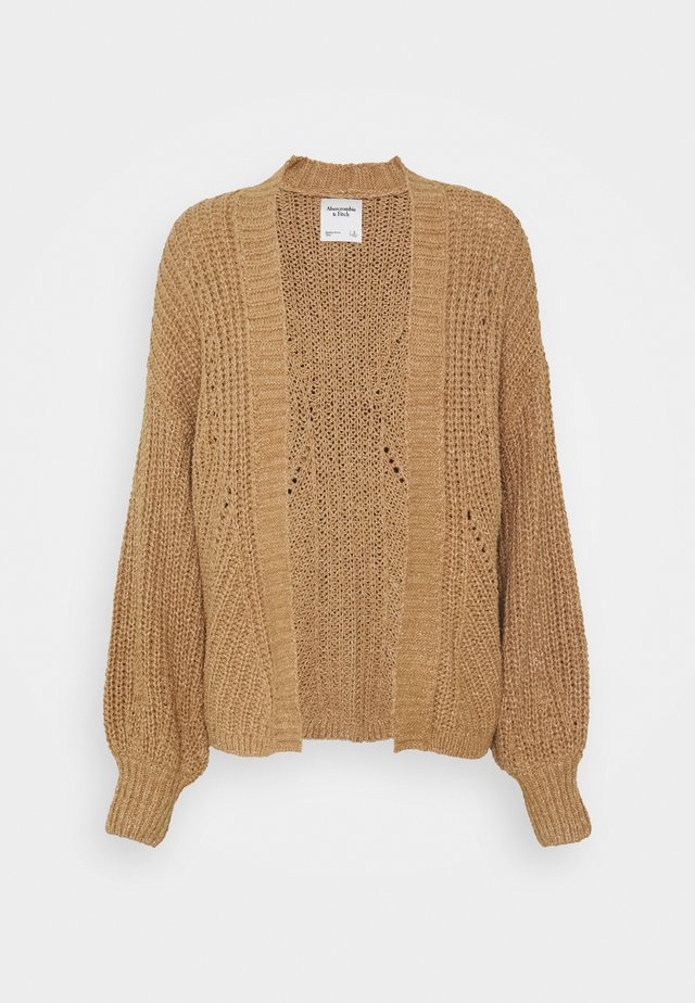 PUFF SLEEVE CARDI - Cardigan - brown