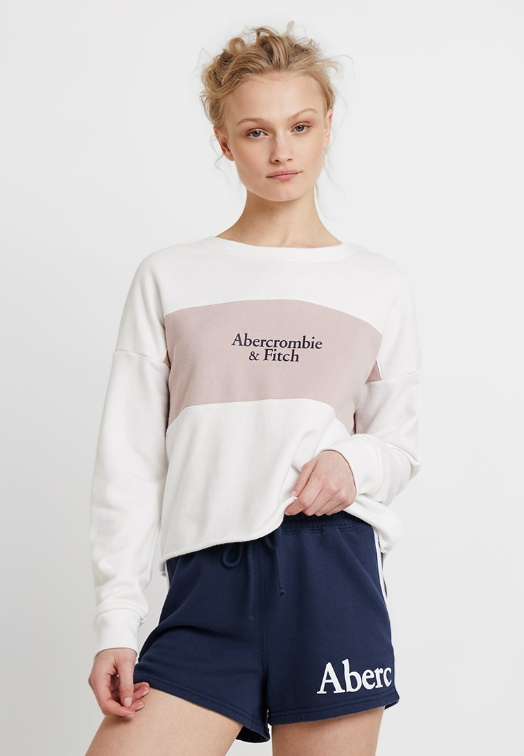 Abercrombie & Fitch - LOGO CREW - Sweatshirt - white with pink