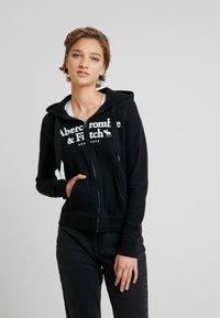 Abercrombie & Fitch - LOGO FULL ZIP - Zip-up hoodie - black - 0