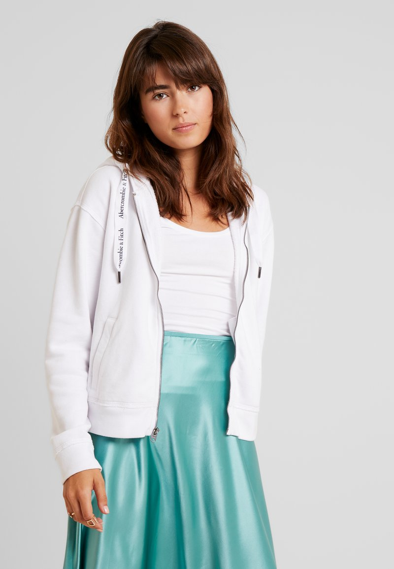Abercrombie & Fitch - FULL ZIP LOGO - Zip-up hoodie - white