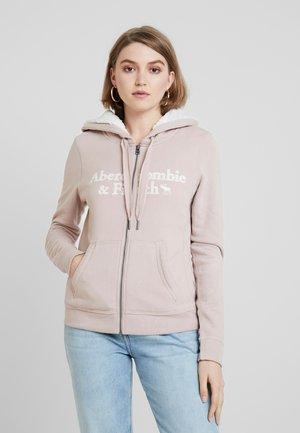SHERPA LINED LOGO FULL ZIP - Zip-up hoodie - pink