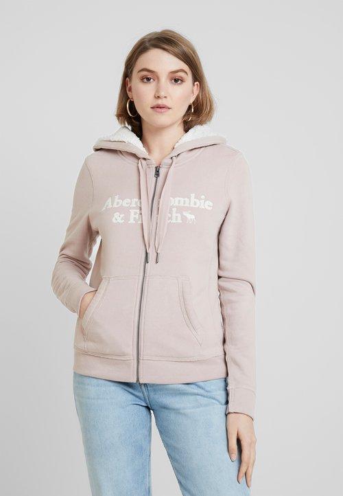 Abercrombie & Fitch SHERPA LINED LOGO FULL ZIP - Bluza rozpinana - pink Odzież Damska DDLH-TO3 dobra jakość