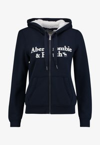 Abercrombie & Fitch - SHERPA LINED LOGO FULL ZIP - Zip-up hoodie - navy - 4