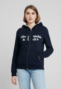 Abercrombie & Fitch - SHERPA LINED LOGO FULL ZIP - Zip-up hoodie - navy - 0