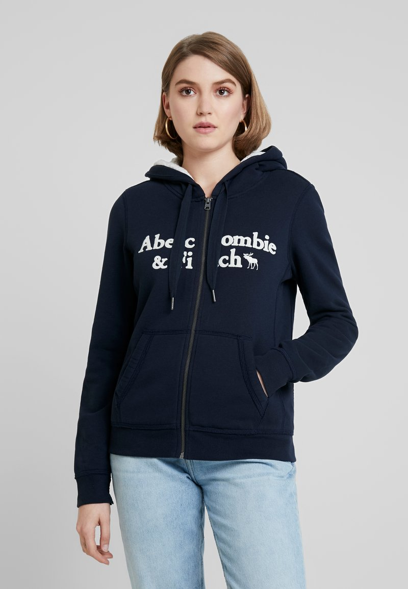 Abercrombie & Fitch - SHERPA LINED LOGO FULL ZIP - Zip-up hoodie - navy