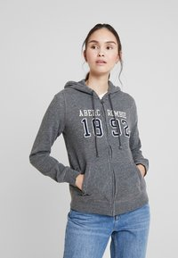 Abercrombie & Fitch - TECH LOGO - Zip-up hoodie - dark grey - 0