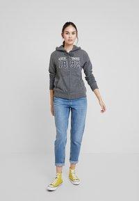 Abercrombie & Fitch - TECH LOGO - Zip-up hoodie - dark grey - 1
