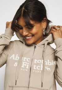 Abercrombie & Fitch - LONG LIFE FULL ZIP - Zip-up hoodie - cobblestone - 3