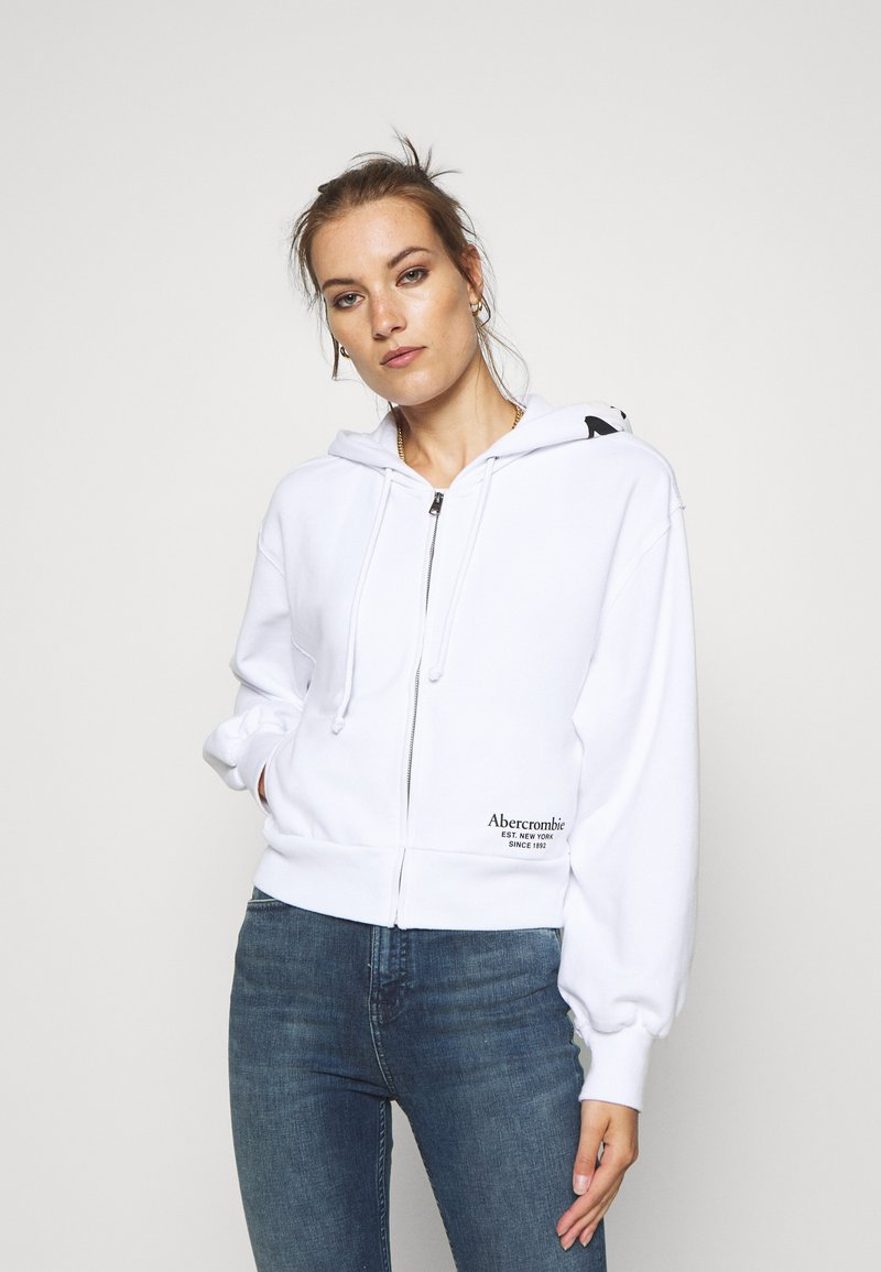 Abercrombie & Fitch - TREND LOGO - Zip-up hoodie - white