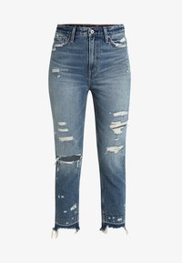 Abercrombie & Fitch - DARK LET DOWN ANNIE  - Relaxed fit jeans - dark destroy - 4