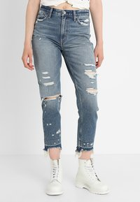 Abercrombie & Fitch - DARK LET DOWN ANNIE  - Relaxed fit jeans - dark destroy - 0