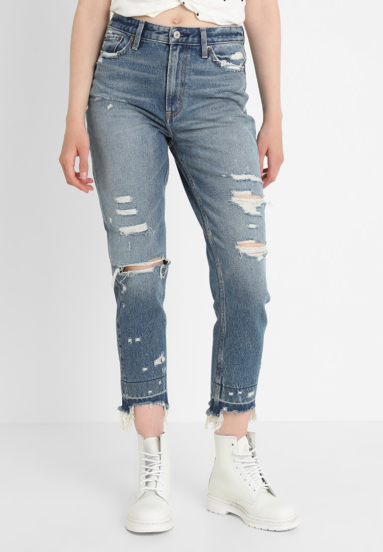 Abercrombie & Fitch - DARK LET DOWN ANNIE  - Relaxed fit jeans - dark destroy