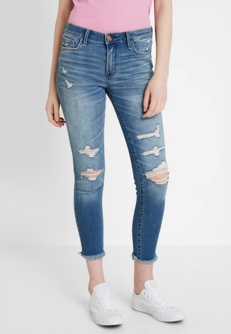 Abercrombie & Fitch - LOW RISE - Jeans Skinny Fit - blue denim