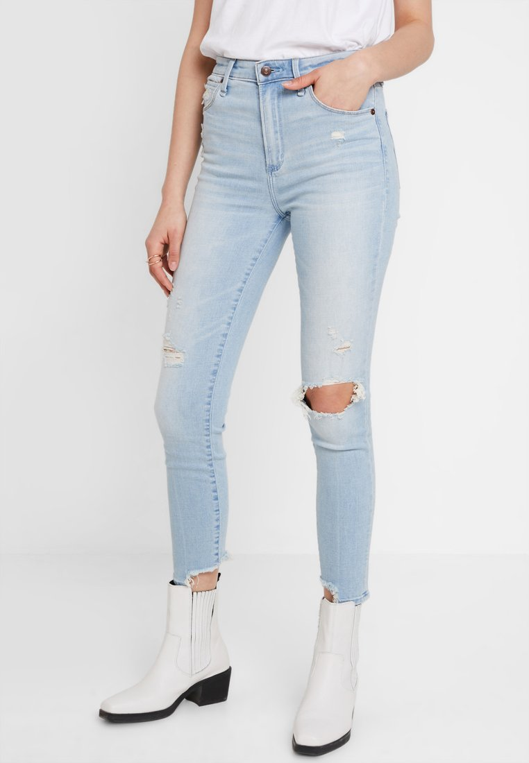 Abercrombie & Fitch - HIGH RISE ANKLE  - Jeans Skinny Fit - light destroy