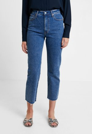 MARBLED ULTRA HIGH RISE ANKLE - Jeans a sigaretta - dark blue denim