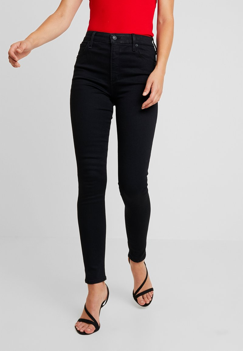 Abercrombie & Fitch - HIGH RISE SUPER - Jeans Skinny Fit - black