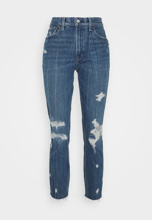 MOM JEANS - Jeans slim fit - dark wash with destroy