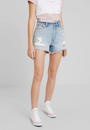 LIGHT DESTROY CUFF HIGH RISE - Denim shorts - stone blue denim