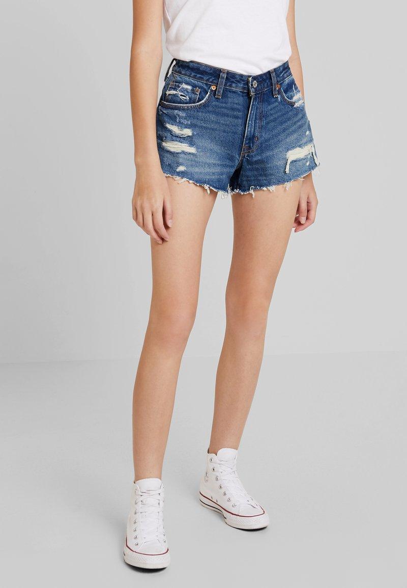 Abercrombie & Fitch - DESTROY - Denim shorts - dark wash
