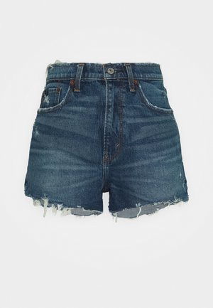 MOM CHEWY - Denim shorts - dark-blue denim
