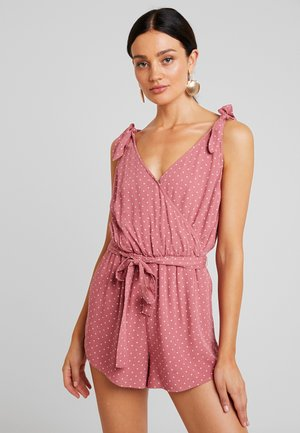 V NECK ROMPER - Mono - red ditsy