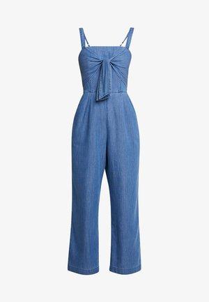 TIE FRONT - Jumpsuit - blue denim