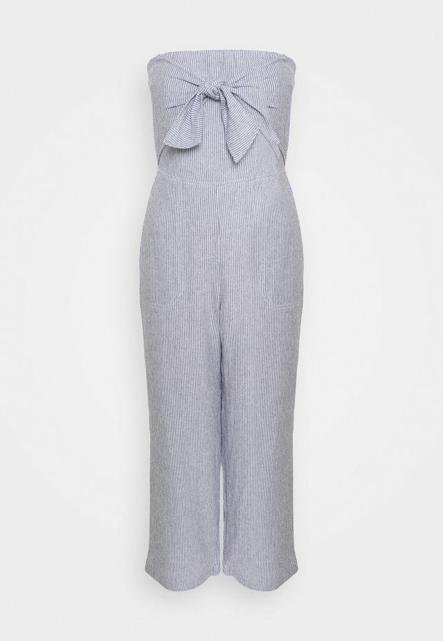BOW FRONT - Jumpsuit - blue and white