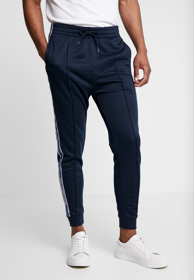 Abercrombie & Fitch - LOGO TAPE TRICOT - Trainingsbroek - navy