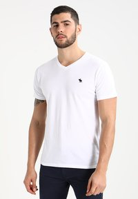 Abercrombie & Fitch - VNECK 3 PACK - T-shirt basic - white