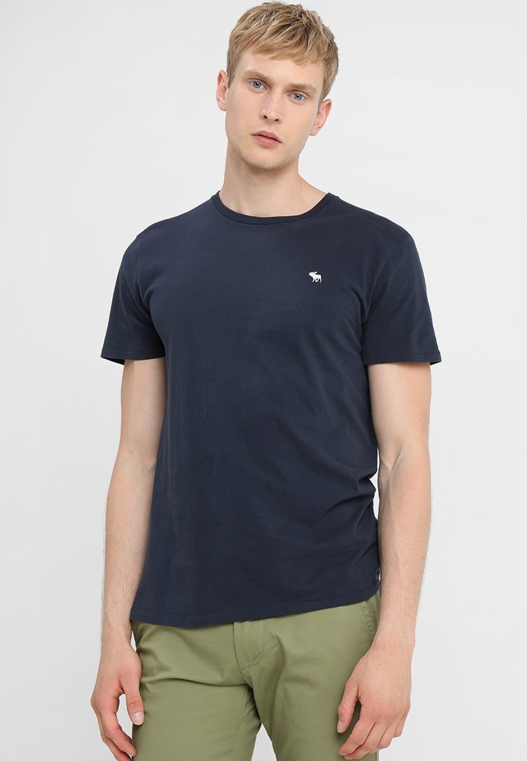 Abercrombie & Fitch - ICON FRINGE CREW - T-shirt print - navy