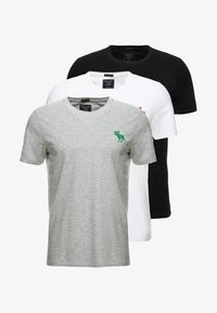 Abercrombie & Fitch - TRIPPLE EXPLOIDED ICON  3 PACK - Print T-shirt - black/white/grey - 5