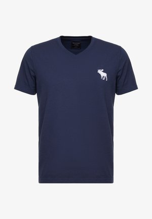 EXPLODED CREW VEE POP  - T-shirt imprimé - navy with white moose