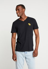 Abercrombie & Fitch - ICON VEE NEUTRAL - T-shirt basic - black - 0