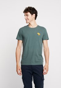 Abercrombie & Fitch - EXPL ICON CREW FRINGE  - Basic T-shirt - green - 0