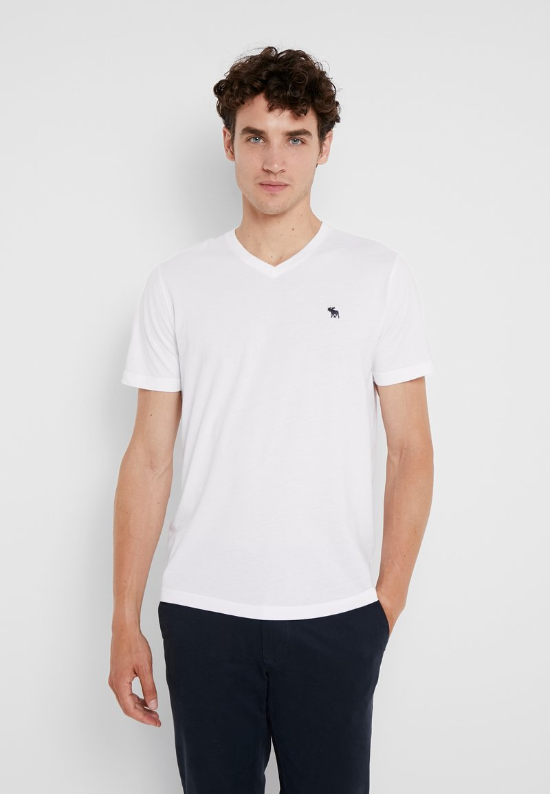 Abercrombie & Fitch - FALL ICON VEE NEUTRALS  - T-shirt - bas - white