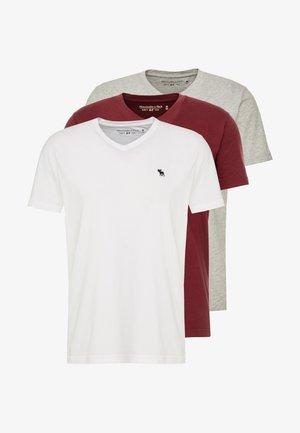 FALL FRINGE VEE 3 PACK - T-paita - grey/burgundy/white