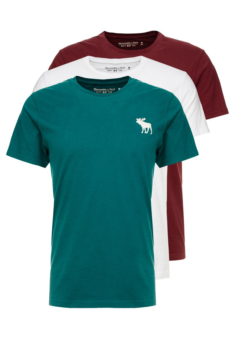 Abercrombie & Fitch - EXPLODED ICON CREW 3 PACK - T-shirt - bas - white/green/burgundy