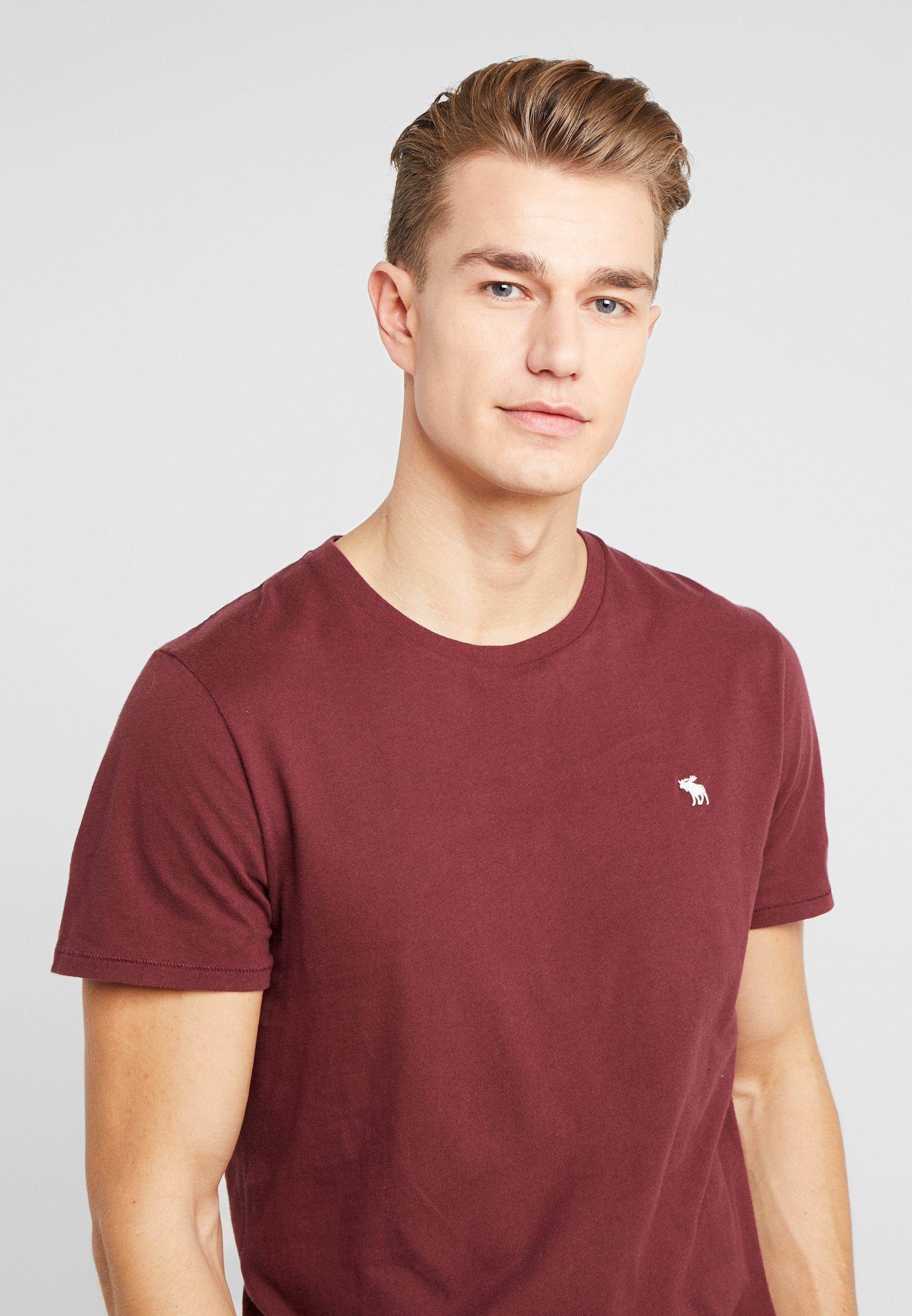 Abercrombie & Fitch CURVED HEM ICON - T-shirt z nadrukiem - burgundy